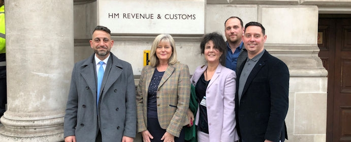 Outside the Treasury (L-R) Christo Tofalli, Anne Main MP, Mandy McNeil, Sean Hughes and Alan Oliver