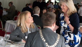 Anne Main joins local business owners and employees at the St Albans Chamber of Commerce Business Breakfast