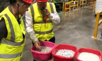 Anne Main MP leads a delegation of MPs to the Veolia plastics recycling plant in Dagenham